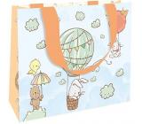 Nekupto Darčeková papierová taška luxusné 23 x 17,5 x 10 cm Zvieratká v lietajúcom balóne 2040 LFM