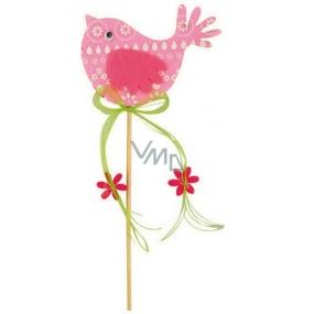 Vtáčik z filcu ružový-biely dekor zápich 7cm + špajle