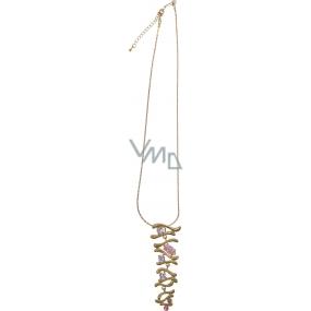 Bižutéria Náhrdelník zlatý s ružovými kameňmi 40 cm