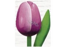 Bohemia Gifts Dřevěný tulipán fialovo-bílý 20 cm