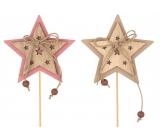 Hviezda drevená 7 cm + špajle 1 kus