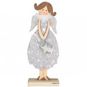Anjel drevený v šedých šatách 16 cm, na postavenie