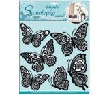 Room Decor Samolepky na zeď motýli s pohyblivými krajkovými černými křídly 39 x 30 cm 1 arch