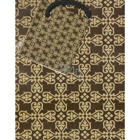 Nekupto Darčeková papierová taška 14 x 11 x 6,5 cm Hnedá vzor 1 kus 581 01