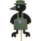 Vrana v zástere zelená zápich 7 cm + špajle 15 cm