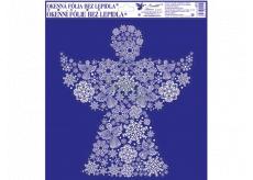 Fólie okenní bez lepidla s glitrem, obrázky z vloček anděl 33,5 x 30 cm