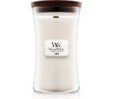 WoodWick Linen - Čistý len vonná svíčka s dřevěným knotem a víčkem sklo velká 609,5 g
