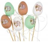 Vajíčko s ovečkou plastové zápich 6 cm + špajle rôzne farby 1 kus