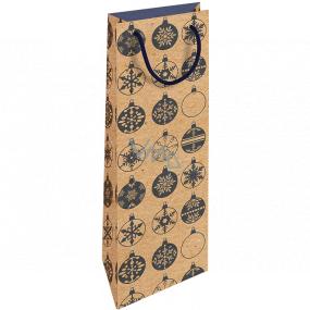 Nekupto Darčeková Kraftová taška na fľašu 15 x 40 cm Vianočný modré banky 616 WHLH