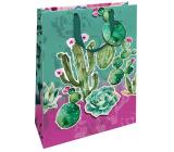 Nekupto Darčeková papierová taška matná 22,3 x 33,3 x 10 cm Kaktusy s 3D aplikáciou kaktusu 1695 LBL