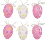 Vajíčka plastová na zavesenie bielo-ružová 6 cm 6 kusov v sáčku