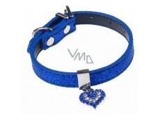 Tatrapet Obojok Lurex modrý zdobený - srdiečko 1,5 x 37 cm