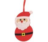 Santa z filcu farebný dekorácie na zavesenie 10 cm