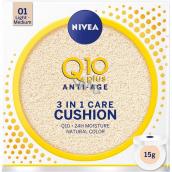 Nivea Q10 Plus Anti-Age Cushion 3v1 ošetrujúci tónovací krém v hubke 01 Light Medium 15 g