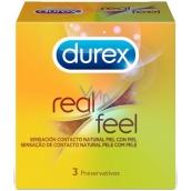 Durex Real Feel kondóm pre prirodzený pocit koža na kožu, nominálna šírka: 56 mm, nelatexové, vhodné aj pre alergikov 3 kusy