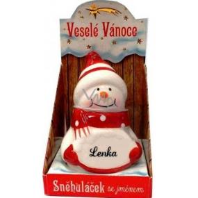 Nekupto Sněhuláček se jménem Lenka Vánoční dekorace 040 rozměr 8 cm