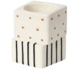 Yankee Candle Jackson Frost svícen s puntíky a proužky na čajovou svíčku 5 x 5 x 7 cm