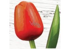 Bohemia Gifts & Cosmetics Dřevěný tulipán oranžovo-červený 34 cm