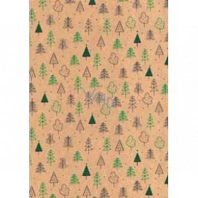 Ditipo Darčekový baliaci papier 70 x 200 cm Vianočný KRAFT zelené a čierne stromčeky