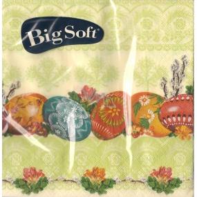 Big Soft Velikonoční papírové ubrousky vajíčka ornamenty světle zelené 33 x 33 cm 20 kusů