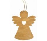 Anjel drevený závesný, svetlo hnedý 8 cm