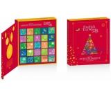 English Tea Shop Bio Adventný kalendár v tvare knihy červený, 25 pyramídiek sypaných čajov, 13 príchutí, darčeková sada