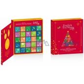 English Tea Shop Bio Adventný kalendár v tvare knihy červený, 25 kusov pyramídiek sypaného čaju, 13 príchuťou, 50 g, darčeková sada