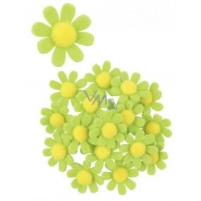 Kvety z filcu s Lepik zelené dekorácie 3,5 cm v krabičke 18 kusov