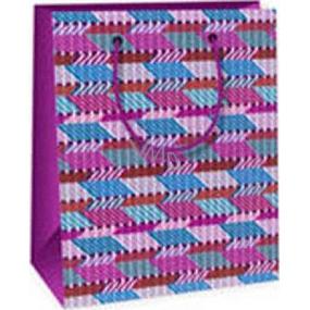 Ditipo Darčeková papierová taška 11,4 x 6,4 x 14,6 cm ružovo modro fialová
