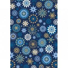 Ditipo Darčekový baliaci papier 70 x 200 cm Vianočné modrý modro-zlatej vločky
