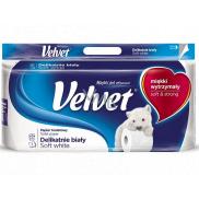 Velvet White Soft jemne biely toaletný papier 3 vrstvový 8 kusov