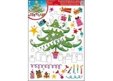 Room Decor Okenní fólie bez lepidla adventní kalendář vánoční stromek 42 x 30 cm