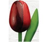 Bohemia Gifts & Cosmetics Dřevěný tulipán tmavě červený 20 cm