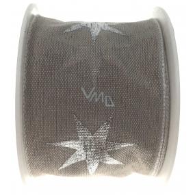 Ditipo Stuha látková s drôtikom šedá strieborné hviezdy 2 mx 40 mm