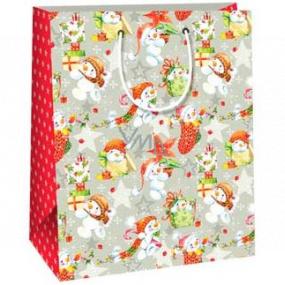 Ditipo Darčeková papierová taška 26,4 x 13,6 x 32,7 cm šedá snehuliaci