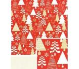 Nekupto Darčekový baliaci papier 70 x 500 cm vianočný červený biele, zlaté stromčeky