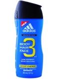 Adidas Sport Energy 3v1 sprchový gél na telo, vlasy a tvár pre mužov 250 ml