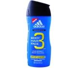 Adidas Sport Energy 3v1 sprchový gel na tělo, vlasy a tvář pro muže 250 ml