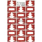 Arch Stromček červený vianočné samolepky na darčeky 20 etikiet 1 arch 822