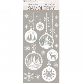 Samolepka vianočné biela s glitrami 18 x 40 cm