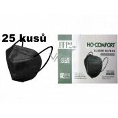HO-Comfort Respirátor ústna ochranný 5-vrstvový FFP2 tvárová maska Čierna 25 kusov