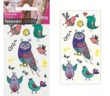 Tetovací obtisky s glitry ptáčci 10,5 x 6 cm