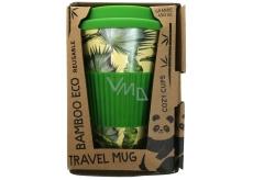 Cozy Time Bamboo Eco Tropical Leaves bambusový ekologický termohrnček + silikónové viečko svetlo zelený 450 ml