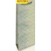 Nekupto Darčeková papierová taška na fľašu 33 x 10 x 9 cm Strieborná hologramová 123 02 THLH