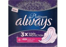 Always Platinum 3 x Triple Protection Ultra Super Plus hygienické vložky s křidélky 8 kusů