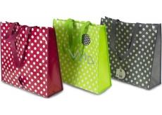 RSW Nákupná taška s potlačou Bodky zelená 43 x 40 x 13 cm