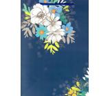 Ditipo Darčeková papierová taška 26,4 x 32,5 x 13,5 cm modrá bielo modré kvety