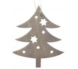 Strom drevený sivý na zavesenie 10 cm