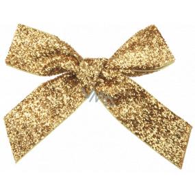 Mašľa zamatová zlatá trblietavá 10 cm 6 kusov