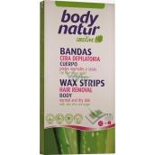 Body Natur Sensitive Aloe Vera a Arganový olej epilační voskové pásky pro celé tělo 16 kusů + poepilační ubrousky 2 kusy